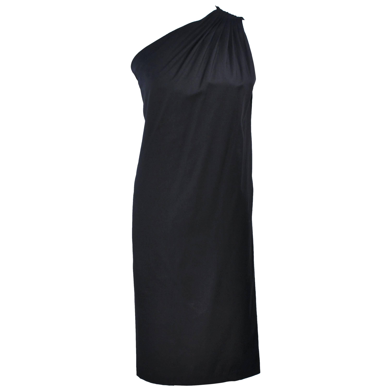 HALSTON Black Stretch Silk One Shoulder Dress Size 38
