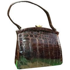 1950s Dark Brown Alligator Handbag