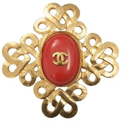 1997 Chanel Red Coral Brooch