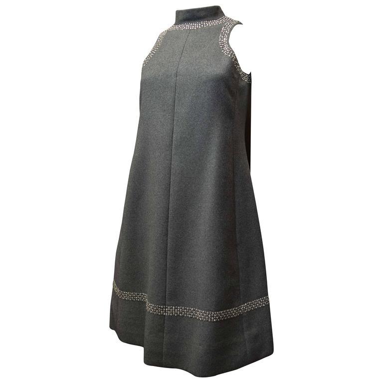 1960s Geoffrey Beene Grey Wool Mod Dress
