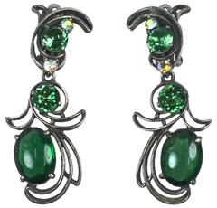 Schiaparelli Crystal and Aurora Earclips