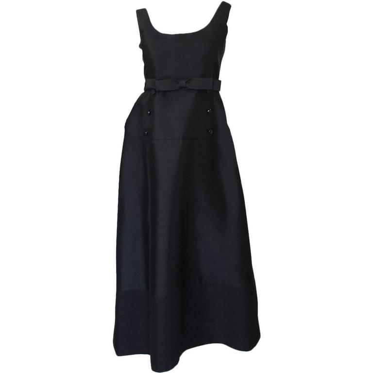 "1960s Sculptural Black Silk Teal Traina ""Tuxedo"" Dress"