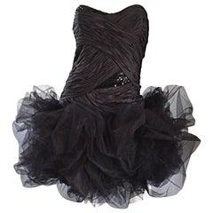 Sensational Vintage 80's Paul Louis Orrier Paris Black Silk Sequin Pouf Dress
