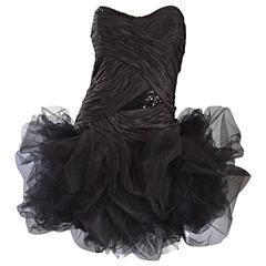 Sensational Vintage Paul - Louis Orrier Paris Black Silk + Sequin ' Pouf ' Dress