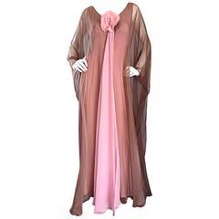 1970s Estevez Pink + Nude Brown 70s Vintage Boho Chiffon Caftan Dress w/ Flower