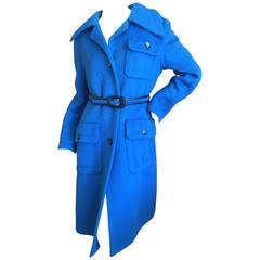 Galanos Sensational Saphire Blue Belted Coat