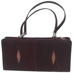 Exotic Genuine Stringray Burgundy Handbag