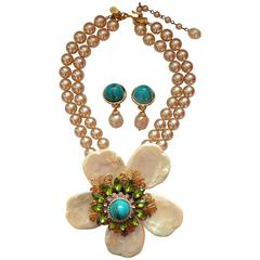 Huge Lawrence Larry VRBA Flower Necklace and Clip On Earring Set