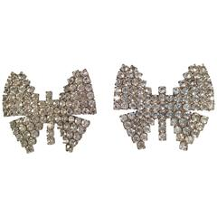 1960s Weiss Rhinestone Butterfly Clip On Earrings