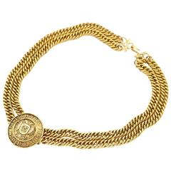 Chanel Vintage Gold Round Medallion CC Chain Link Choker Necklace