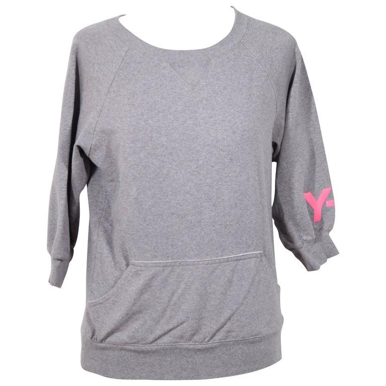 Y-3 YOHJI YAMAMOTO Gray Cotton CROPPED SLEEVE SWEATSHIRT Sz XS For Sale