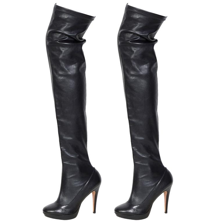 BALMAIN black stretch leather thigh high boots For Sale