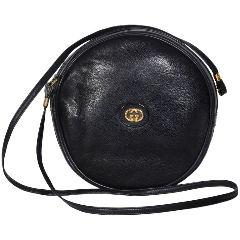 Gucci 70 S Vintage Black Leather Can Crossbody Bag For