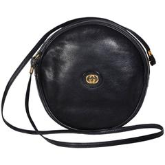 Gucci 70's Vintage Black Leather Canteen Crossbody Bag