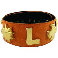 Christian Lacroix Wide Peach Suede Leather Belt with Iconic Gold Symbols