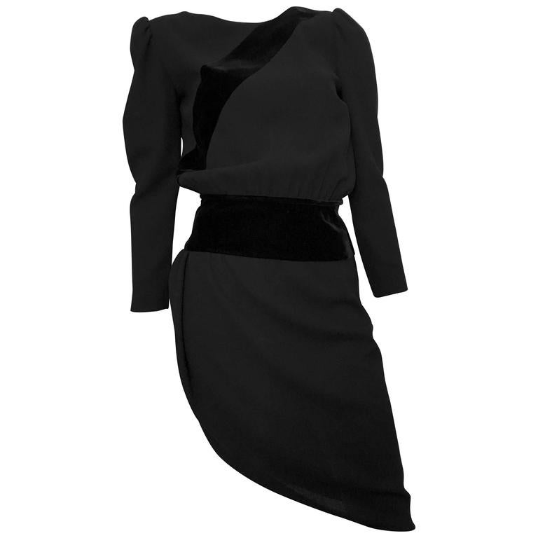 Valentino Boutique 80s Black Wool Crepe Dress Size 6. 1