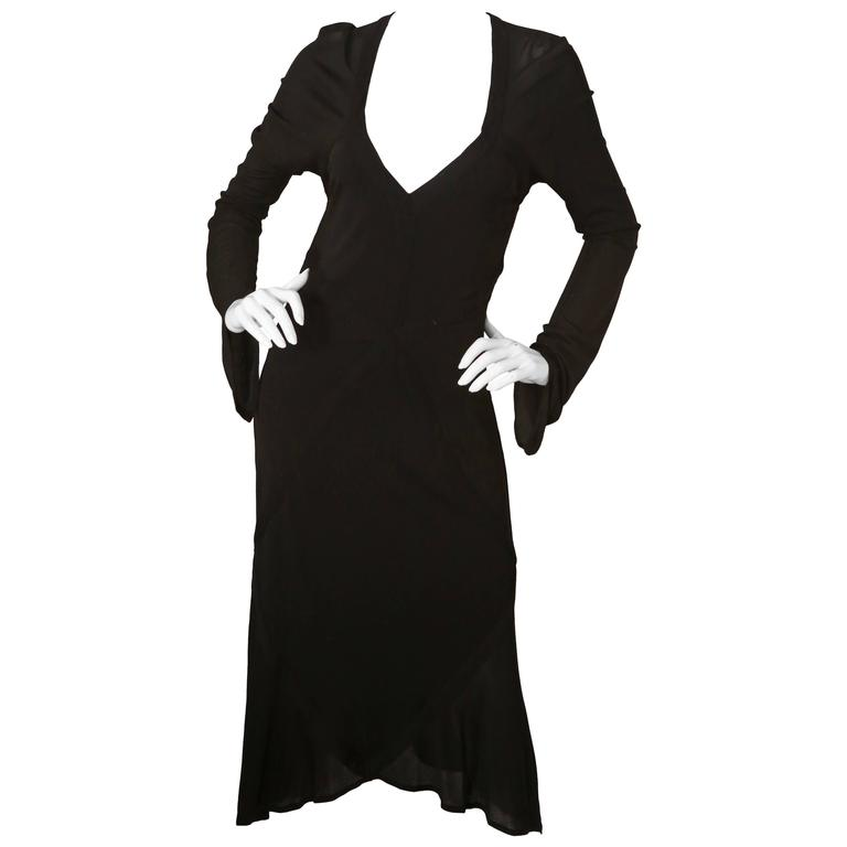 YSL Black Dress W/ Bell Sleeves and Open Back  For Sale