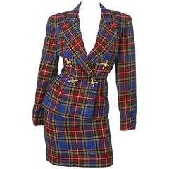 1991 Moschino Cheap & Chic Blue/Red Plaid Skirt Suit W/ Faucet Knob Detail