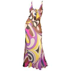 Emilio Pucci S/L Multi-Colored Printed Gown