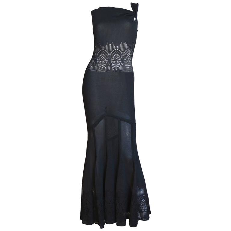 Galliano Mermaid Dress With Sheer Midriff