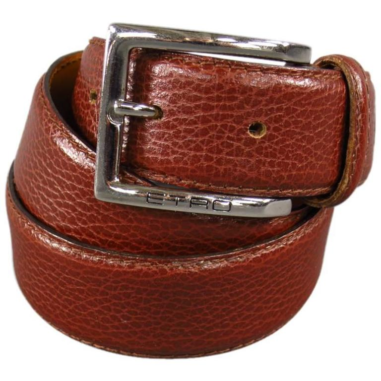 ETRO Rich Brown Leather Engraved Silver Rectangle Buckle Belt