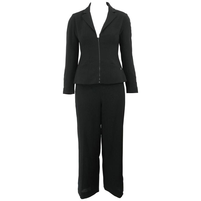 Chanel Classic Lightweight Black Wool Pant Suit