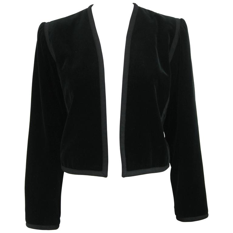Yves Saint Laurent Rive Gauche Black Velvet Bolero Jacket For Sale