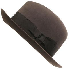 Vintage Lock and Co Hatters Charcoal Grey Fedora with Black Band and Hat Box