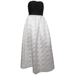 Bill Blass 80s Black & White Strapless Evening Gown Size 6.