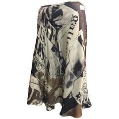 Iconic Galliano News Paper Print Bias Silk Satin Half Slip Skirt