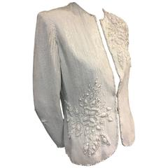 1980s Galanos White Solid Sequined Evening Blazer w Raised Beaded Pattern