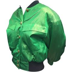1980s Escada Acid Green Silk Lame Bomber-Style Jacket w/ Heart Print Lining