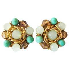1950's Miriam Haskell Green Beaded Clip-On Earrings