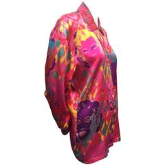 1990s Escada Iconic Warhol Marilyn Monroe Print Silk Blouse.