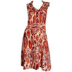 NWT Cacharel Silk Ikat Print Dress Chic 1960s 60s Style