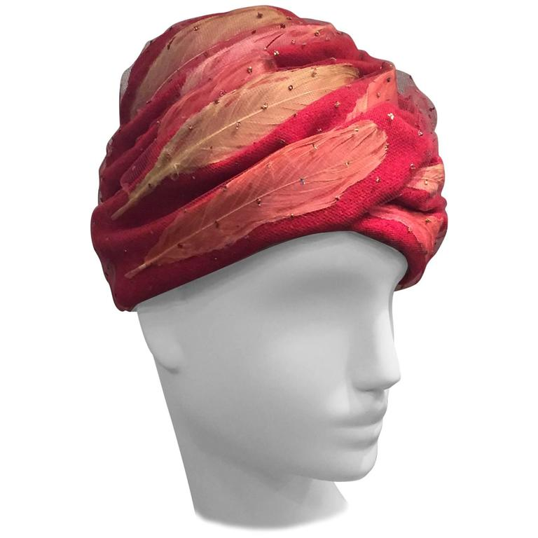 1960s Christian Dior Rose Wool and Tulle-Wrapped Feather Turban  1