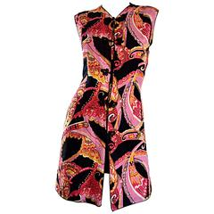 1960s 60s Psychedelic Asian Themed Colorful Mod Long Silk Vest or Mini Dress