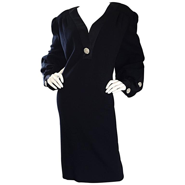 fb4316bdca03a Beautiful Vintage I. Magnin Plus Size Little Black Dress w  Rhinestone  Buttons For Sale