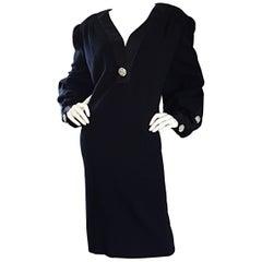 Vintage Extra Large Beautiful I. Magnin Little Black Dress w/ Rhinestone Buttons
