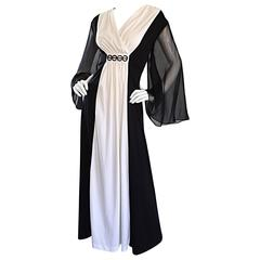 Amazing 1970s 70s Black and White Grecian Maxi Dress / Gown w/ Angel Sleeves