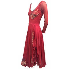 1970s Merlot Rayon Crepe Dancing Dress w/ High Slit Wrap Skirt