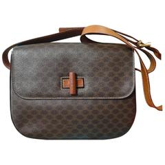 celine stingray box bag rd9f  Vintage CELINE dark brown and brown macadam blason pattern shoulder bag