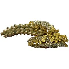 1950s Fine MIRIAM HASKELL Seed Pearl and Montee Elaborate DELPHINIUM Brooch Pin