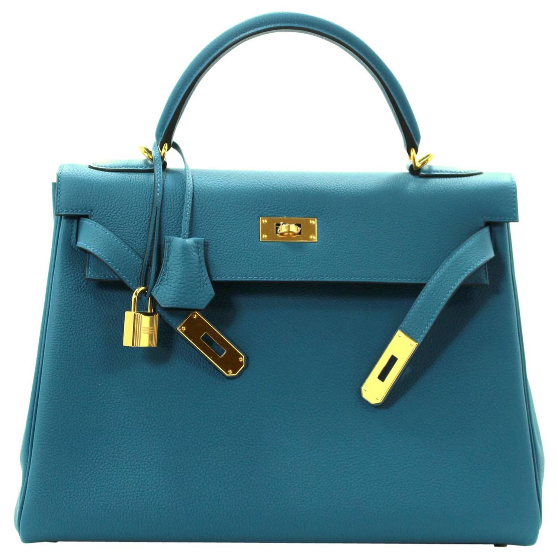 Hermes Blue Electrique Togo Birkin Bag, 35 cm size with PHW For ...