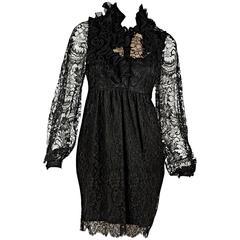 Black Givenchy Ruffled Lace Dress