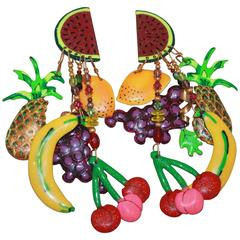 Lunch at the Ritz Multi-Colored Fruit Themed Dangle Clip-On Earrings-Circa 1990s