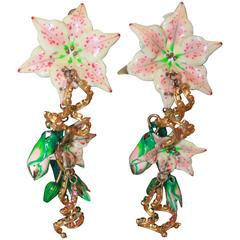 Lunch at the Ritz Pink, White & Green Floral Drop Clip-On earrings -Circa 1990's