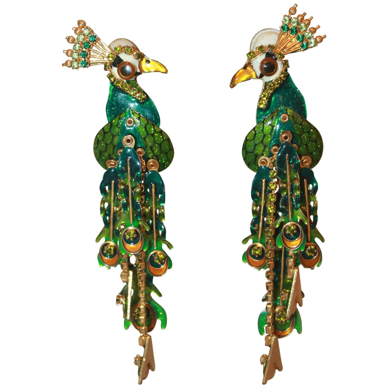 Palm Beach Chic Circa 1990s: Lunch At The Ritz Green Peacock Dangle Clip-On Earrings