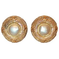 Chanel Textured Goldtone Round Clip-On Earrings w/ Pearl & 4 CC's - Circa 1989
