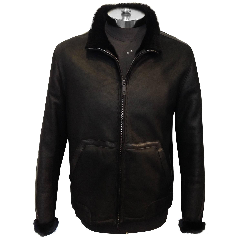 Giorgio Armani Black Label Black Shearling Racer Jacket ...